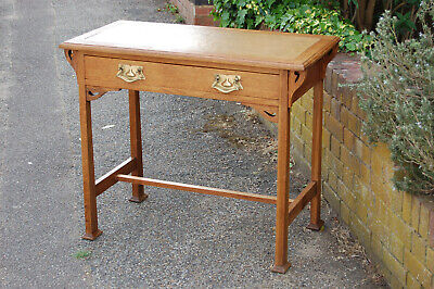 Arts and Crafts movement side table/desk,oak,leather,victorian,edwardian