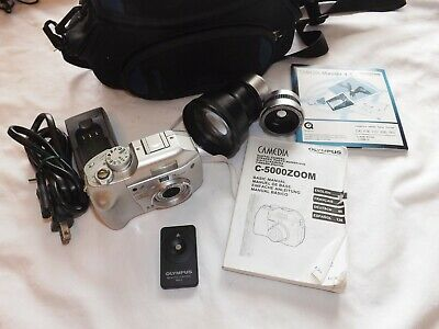 Olympus Camedia C-5000 Zoom 5MP 3x Optical Digital Camera- 2 lenses- software