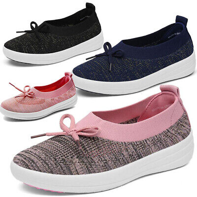 Womens Bow Walking Slip On Gym Fitness Mesh Sports Running Sneakers Casual Shoes