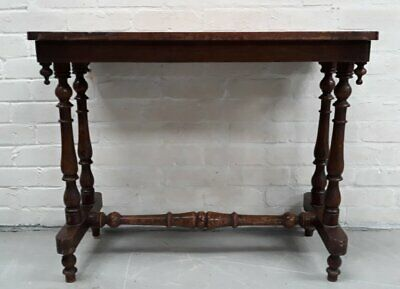 Shabby Victorian End Or Sofa Table With Inlaid Veneer Chess Board On Turned Supp