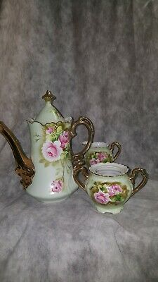Lefton China Heritage Green Pink Roses COFFEE POT/TEAPOT 7 CUPS CRM & SUGAR -LID