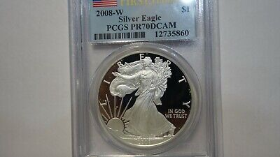 2008-W 1 Oz Proof Silver Eagle Pcgs Pr70Dcam Beautiful Coin $ First Strike $