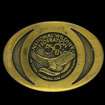 Vtg 1986 National Wildlife Federation 50th Conservation Solid Brass Belt Buckle
