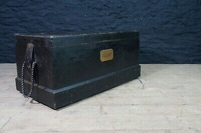 Antique Pine Shipwrights Tool Chest / Trunk in Black ~ Brass Nameplate BLAND