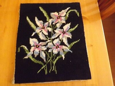 """Vintage Lilies Completed Wool Tapestry on Black Background Size 9.5"""" x 11.75"""""""