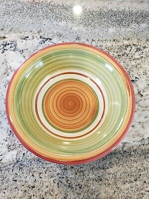 Pier 1 Valencia Replacement Dishes Cereal Soup Pasta Bowl Orange Green 8 1/2""