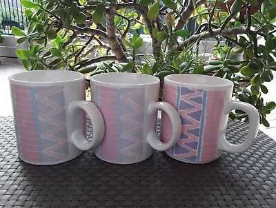 3 x Vintage Retro Ceramic Tea Coffee Mugs Geometric 250 mls Japan 60's