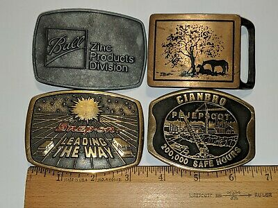 Vintage 4 Belt Buckle Lot Two Horses, Snap-On, Ball Zinc Products & Cianbro