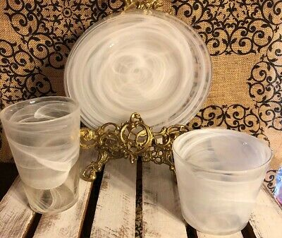 ARTISTIC ACCENTS? Blown Glass PEARL WHITE SWIRL GLASS PLATE BOWL & TUMBLER SET