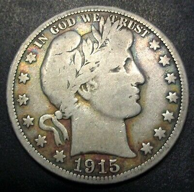 Original Very good+ VG+ 1915 S San Francisco Barber silver 50C half dollar coin