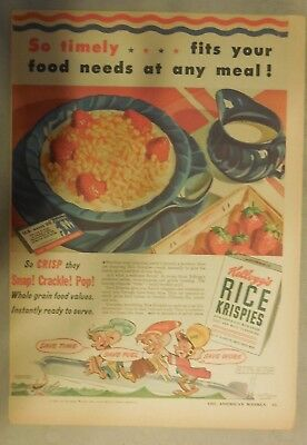 Kellogg's Cereal Ad: Wartime Rice Krispies Cereal 1940's Size:11 x 15 inches