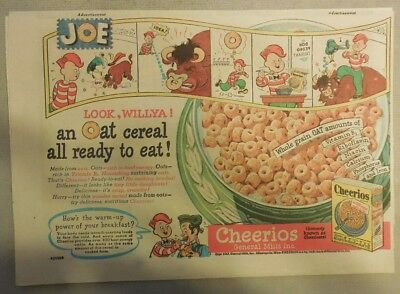 "Cheerios Cereal Ad: Featuring ""Cheerio Joe"" from 1950's Size: 7 x 10 inches"