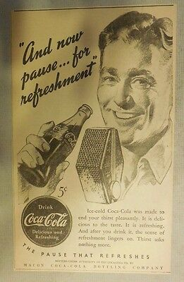 """Coca-Cola ad: """"Now Pause For Refreshment"""" 1930's ~ 6.5 x 9 inches 1930's"""