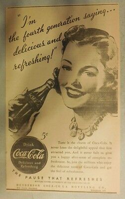 """Coca-Cola ad: """"Delicious and Refreshing"""" 1930's ~ 6.5 x 9 inches 1930's"""