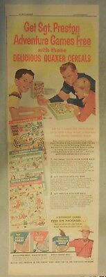 """Quaker Cereal Ad: """"Sgt. Preston Game Contest"""" from 1958 Size: 7.5 x 22 inches"""