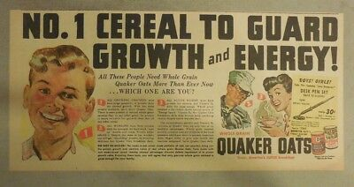 """Quaker Cereal Ad: """"Guard Growth and Energy! from 1940's Size: 7.5 x 15 inches"""