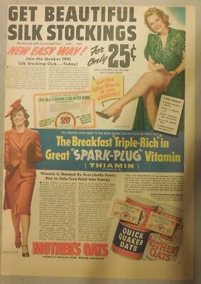 """Quaker Cereal Ad: """"Beautiful Silk Stockings"""" Premium from 1940's 11 x 15 inches"""