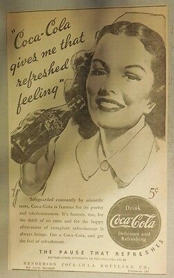 """Coca-Cola ad: """"Refreshed Feeling"""" 1930's ~ 6.5 x 9 inches 1930's"""