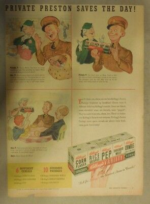 Kellogg's Cereal Ad: Private Preston Saves The Day ! 1940's Size:11 x 15 inches