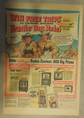 Kellogg's Cereal Ad: Wild Bill Hickok TV & Radio Show ! 1952 Size:11 x 15 inches