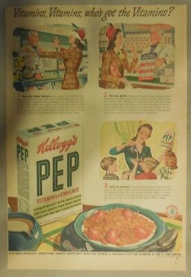 Kellogg's Cereal Ad: Vitamin Enriched Pep Cereal ! 1940's Size:11 x 15 inches