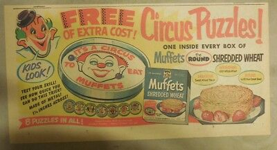 Quaker Cereal Ad: Muffets Circus Puzzles Premiums from 1940's 7.5 x 15 inches