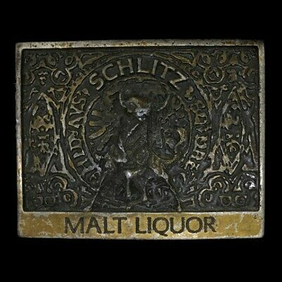 Vtg Schlitz Malt Liquor Bull Beer Bar Club Partying Bottle Opener Belt Buckle