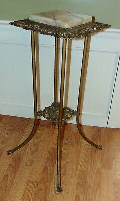 ANTIQUE VICTORIAN Plant Stand BRASS & MARBLE Accent Table