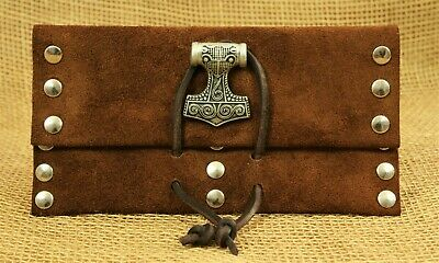 Leno Bag Tobacco Pouch Thor's Hammer Leather Brown Case Leather Bag Viking Thor