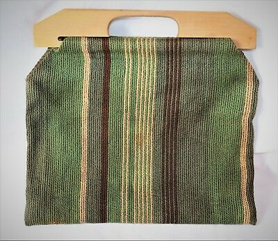 Vintage Knitting/Sewing/Crochet Bag with Wood Handles Green/Brown
