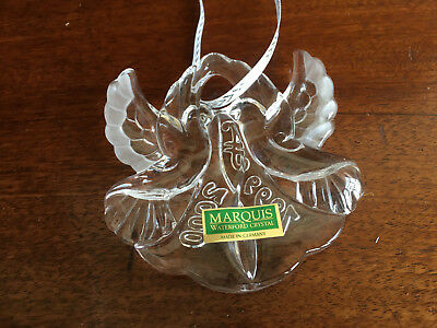 Marquis Waterford Kissing Doves Crystal Millennium Ornament 1999/2000- NIB