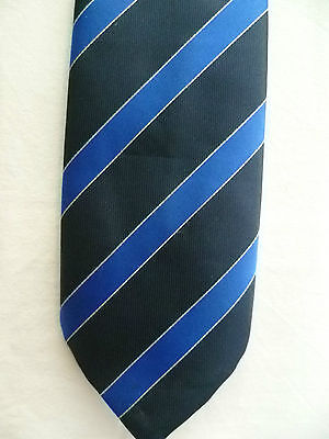 Vintage HARDY AMIES Savile Row Tie Stripe Blue Grey Retro Club College