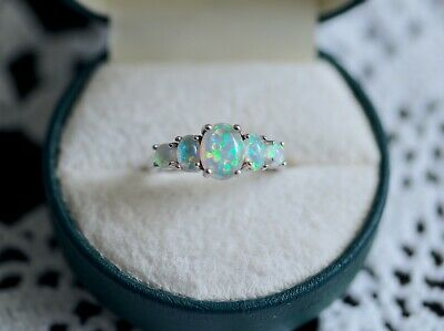 Antique Art Deco Jewellery Ring With Opals Vintage Jewelry size 9 or R