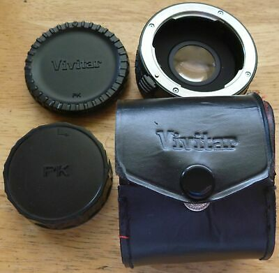 VIVITAR MC TELE CONVERTER 2X-22 FOR PENTAX PK mount w/ case and caps - JAPAN