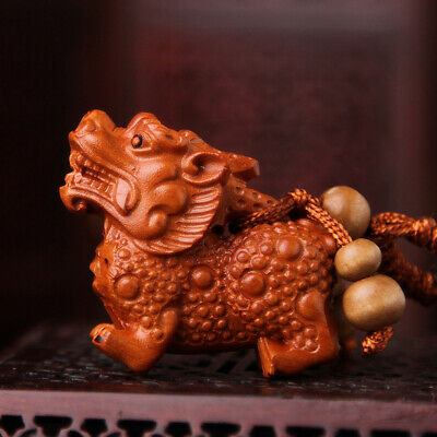 Wood 3D Carving Chinese Wealth Pixiu Pi Yao Statue Pendant Key Chain Dragon