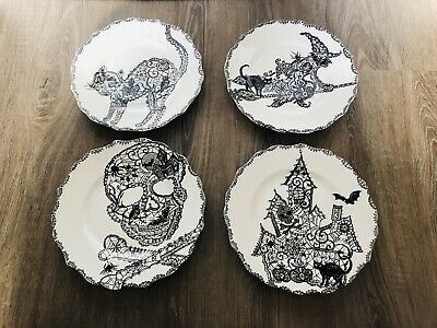 222 FIFTH HALLOWEEN Witch CAT SKULL Wiccan Lace 4 SIDE PLATES Appetizer Dessert