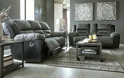 Awesome Ashley Oberson Gunsmoke Faux Leather Reclining Sofa And Ocoug Best Dining Table And Chair Ideas Images Ocougorg