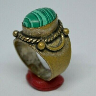 Stunning (Post) Medieval Bronze Ring With Green Glass  Stone On Bezel - Wearable