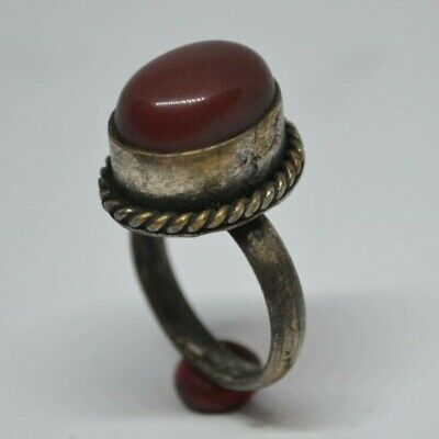 Stunning (Post) Medieval SILVER Ring With Red Glass / Stone On Bezel - Wearable