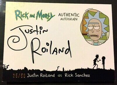 RICK & MORTY 2018 JUSTIN ROILAND Autograph 25/50 Cryptozoic Card MINT!