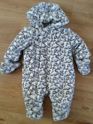 Mothercare All In One Outdoor Suit With Mittens Attached, White/grey, 0-3 Months