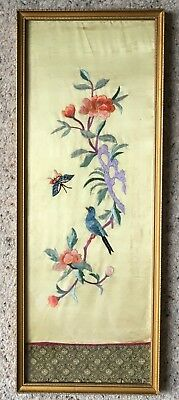 "Vintage Finely Embroidered Japanese Silk Panel ""Peach Blossom, Butterfly & Bird"""