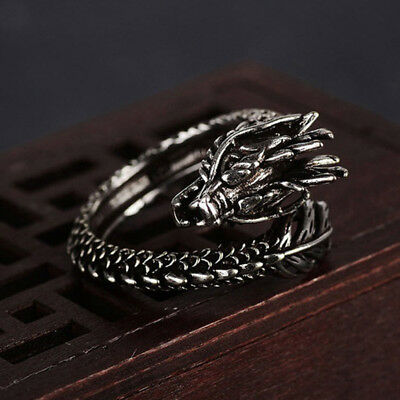 Mens Delicate Vintage Carved 3D Dragon Wrap Open Adjustable Ring Jewelry RE