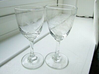 Matched pair of Antique Sherry/Liqueur/Cordial Glasses with etched Fern pattern