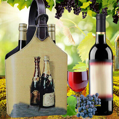 B1E4 Vintage Looking Wine Gift Box Storage Holder Organizer For 2Bottles With