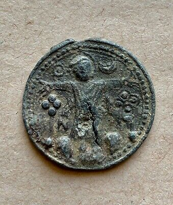 Byzantine lead pendant with depiction of Crucifixion of Christ and a Cross. Rare