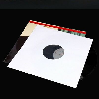 20x 12 Inch Paper  LP Vinyl Record Sleeve Cover Album Outer White Clear Poly New