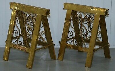 Pair Or Very Rare Original Victorian Folding Brass Coffin Trestle Bases Table