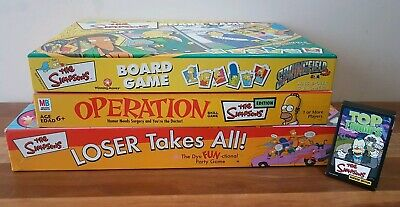 Simpsons Board Games x 3 Collectable Operation Springfield Top Trumps Homer E/C