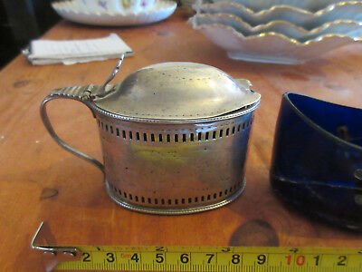 Antique Georgian /Early Vic Solid silver mustard pot H M  +  liner . free P + P